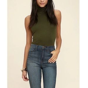 H&M   Olive Green Turtleneck Tank Small